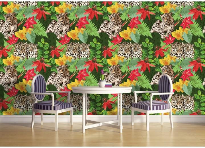Fotobehang Vlies | Jungle | Groen, Rood | 368x254cm (bxh)