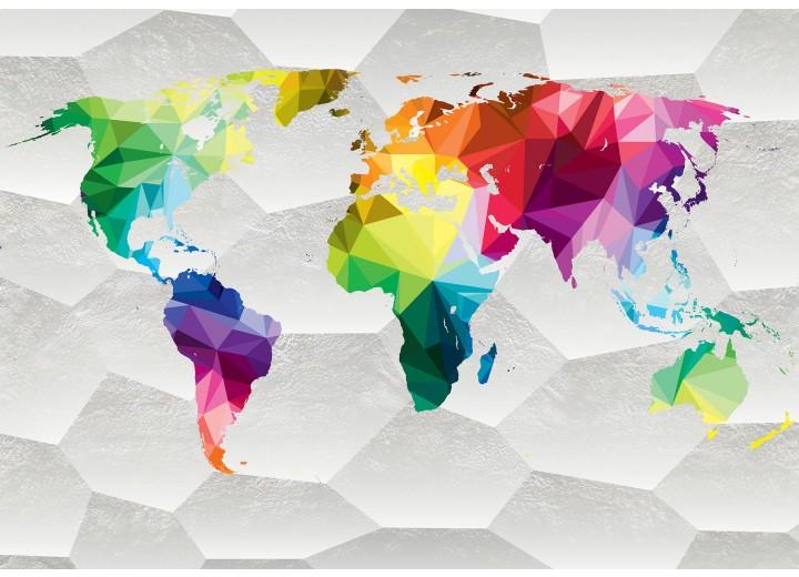 Fotobehang Vlies   Wereldkaart, Kleurrijk   Wit   368x254cm (bxh)