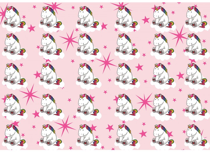 Fotobehang Vlies | Eenhoorn | Roze, Wit | 368x254cm (bxh)