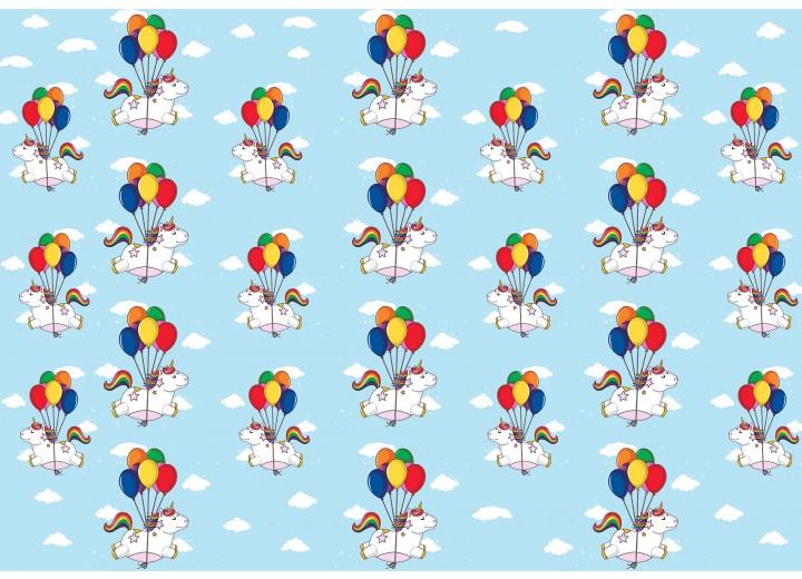 Fotobehang Vlies | Eenhoorn | Roze, Blauw | 368x254cm (bxh)