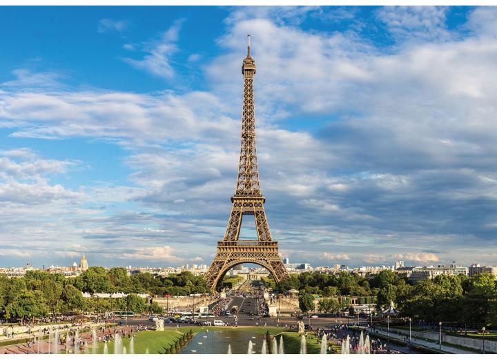 Fotobehang Vlies | Parijs, Eiffeltoren | Blauw | 368x254cm (bxh)