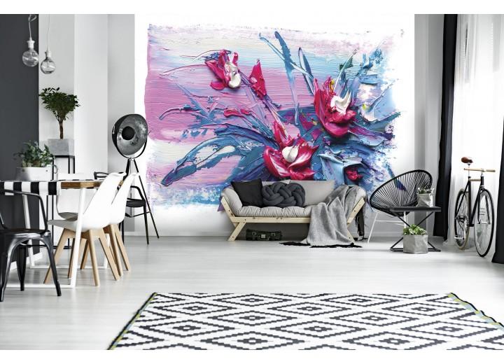 Fotobehang Vlies | Modern, Bloem | Blauw | 368x254cm (bxh)