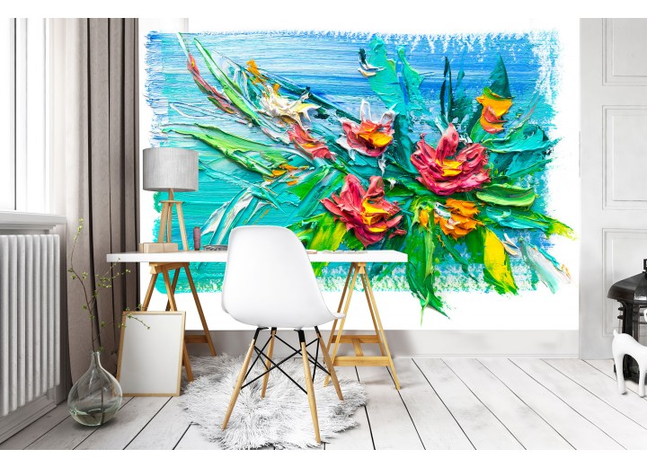 Fotobehang Vlies | Bloemen, Modern  | Blauw | 368x254cm (bxh)