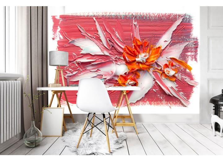 Fotobehang Vlies | Bloemen, Modern  | Oranje | 368x254cm (bxh)
