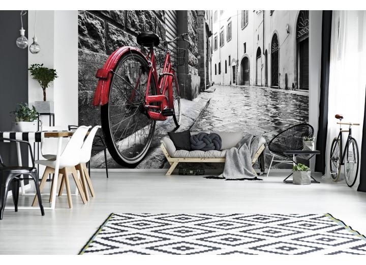 Fotobehang Vlies | Fiets | Zwart, Rood | 368x254cm  (bxh)