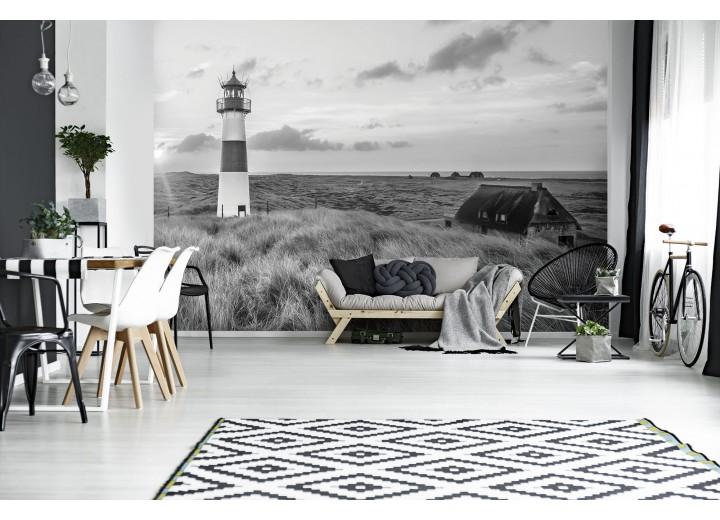 Fotobehang Vlies | Vuurtoren | Zwart, Grijs | 368x254cm  (bxh)