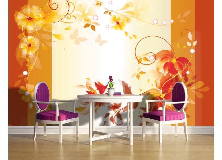 Fotobehang Vlies | Bloemen | Oranje, Geel | 368x254cm (bxh)