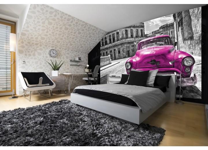 Fotobehang Oldtimer, Auto | Roze, Grijs | 312x219cm