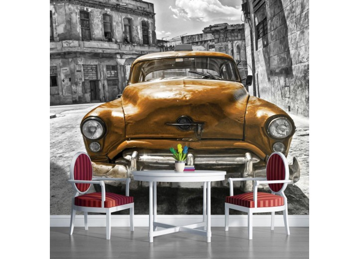 Fotobehang Papier Oldtimer, Auto | Grijs, Goud | 254x184cm