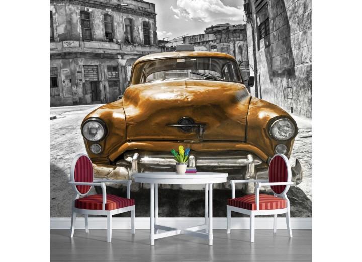 Fotobehang Vlies | Oldtimer, Auto | Grijs, Goud | 368x254cm (bxh)