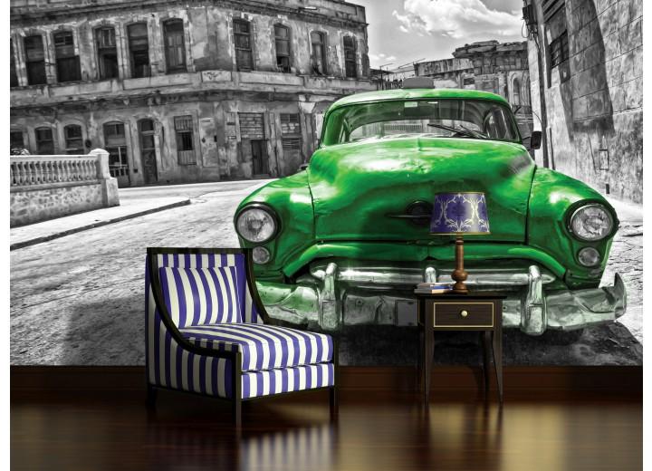 Fotobehang Oldtimer, Auto | Grijs, Groen | 104x70,5cm