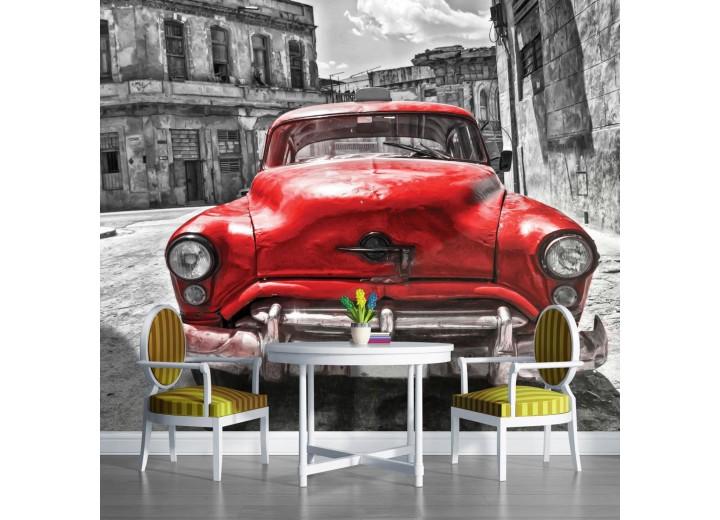 Fotobehang Oldtimer, Auto | Grijs, Rood | 104x70,5cm