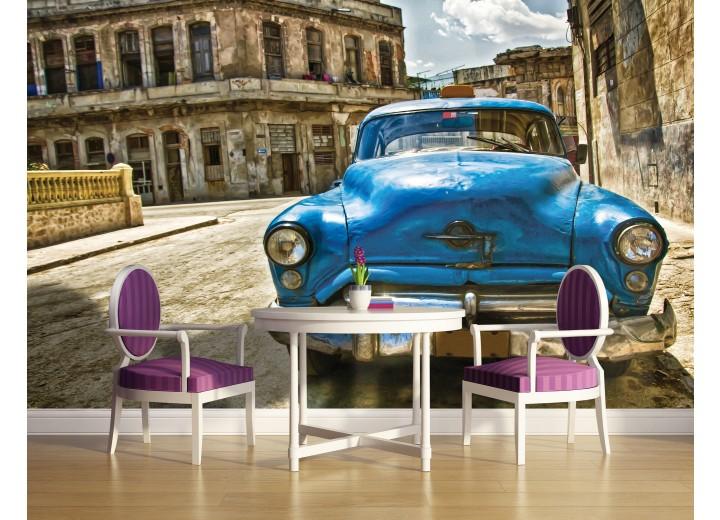 Fotobehang Oldtimer, Auto | Blauw, Bruin | 104x70,5cm