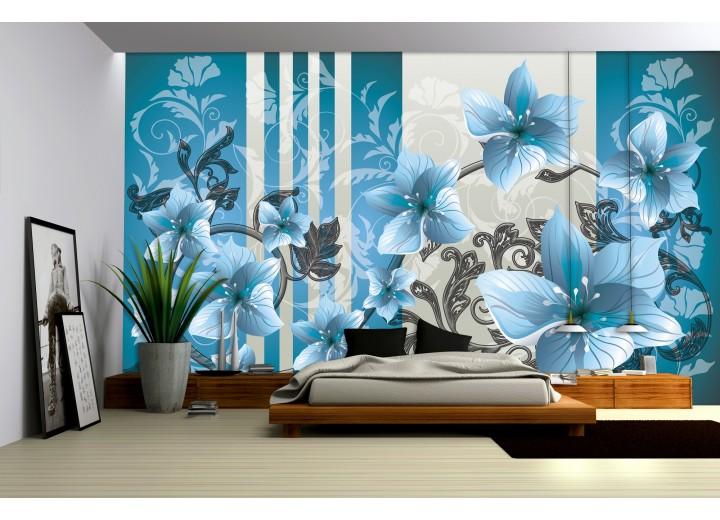 Fotobehang Bloemen | Blauw, Grijs | 312x219cm