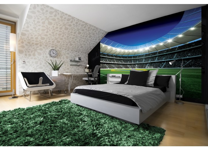 Fotobehang Voetbal | Groen, Blauw | 416x254