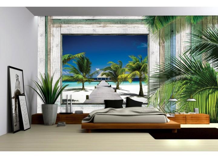 Fotobehang Papier Strand | Groen, Grijs | 254x184cm
