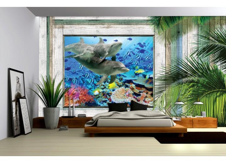 Fotobehang Papier Dolfijnen | Groen, Blauw | 254x184cm