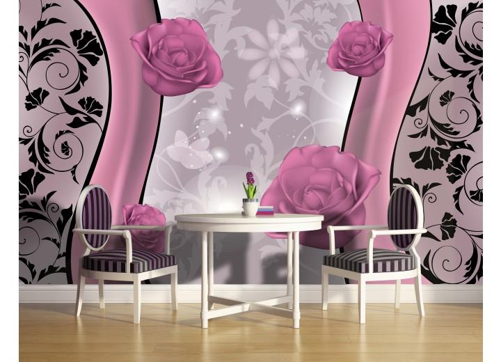 Fotobehang Vlies   Bloemen   Roze, Grijs   368x254cm (bxh)