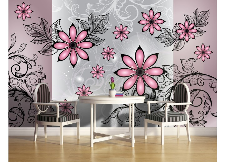Fotobehang Papier Bloemen | Roze, Grijs | 254x184cm