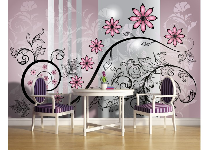 Fotobehang Bloemen | Roze, Grijs | 104x70,5cm