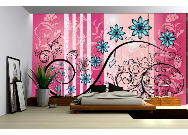 Fotobehang Papier Bloemen | Roze, Blauw | 254x184cm