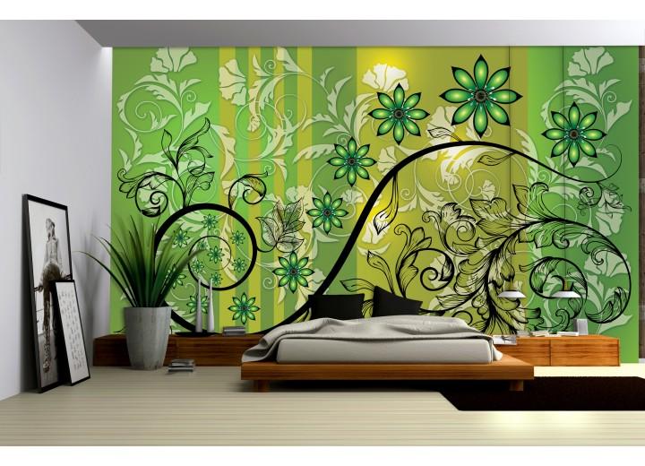 Fotobehang Bloemen | Groen, Geel | 104x70,5cm
