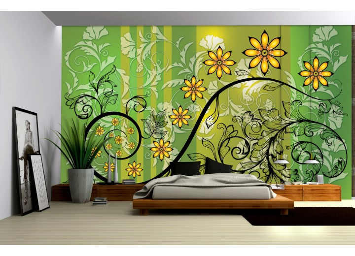 Fotobehang Bloemen | Groen, Geel | 152,5x104cm