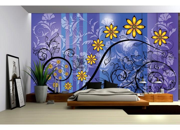 Fotobehang Vlies   Bloemen   Blauw, Paars   368x254cm (bxh)