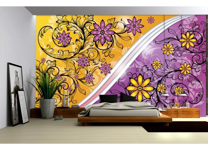 Fotobehang Vlies   Bloemen   Paars, Geel   368x254cm (bxh)
