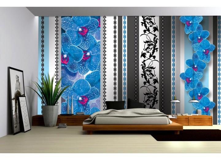 Fotobehang Vlies   Bloemen, Orchidee   Blauw, Grijs   368x254cm (bxh)
