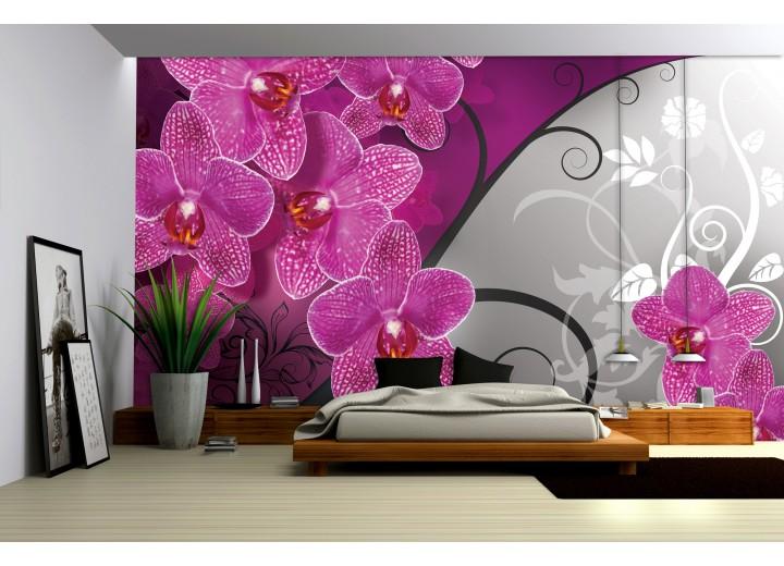 Fotobehang Vlies | Bloemen, Orchidee | Roze, Grijs | 368x254cm (bxh)