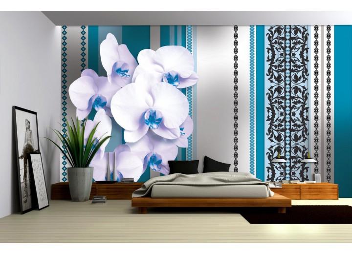 Fotobehang Vlies | Bloemen, Orchidee | Turquoise, Wit | 368x254cm (bxh)
