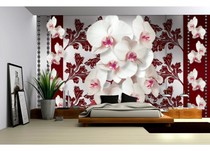 Fotobehang Bloemen, Orchideeën | Wit, Grijs | 104x70,5cm