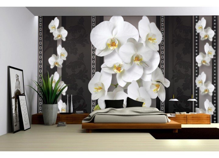 Fotobehang Vlies | Bloemen, Orchideeën | Zwart, Wit | 368x254cm (bxh)