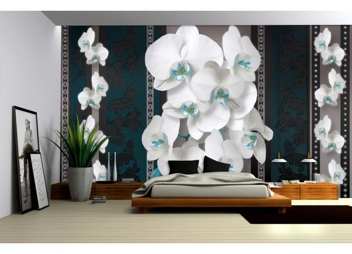 Fotobehang Papier Bloemen, Orchideeën | Turquoise | 368x254cm
