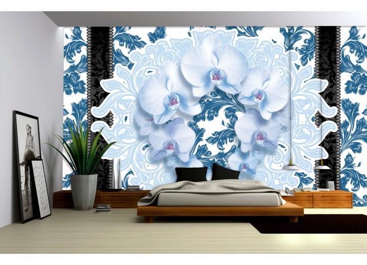 Fotobehang Vlies | Bloemen, Orchideeën | Blauw | 368x254cm (bxh)