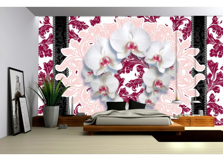 Fotobehang Papier Bloemen, Orchideeën | Wit | 254x184cm