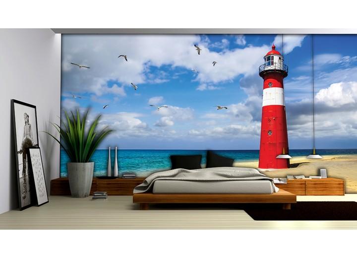 Fotobehang Papier Vuurtoren, Strand | Blauw | 368x254cm