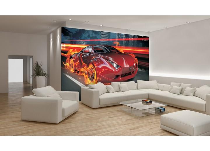 Fotobehang Auto | Rood, Oranje | 208x146cm