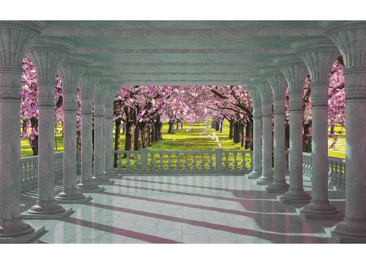 Fotobehang Papier Bomen | Roze, Groen | 368x254cm