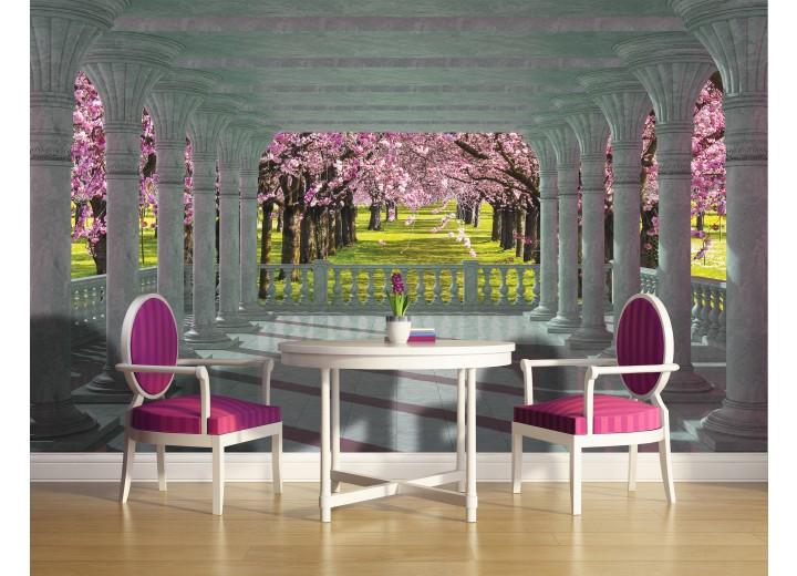 Fotobehang Vlies | Bomen | Roze, Groen | 368x254cm (bxh)