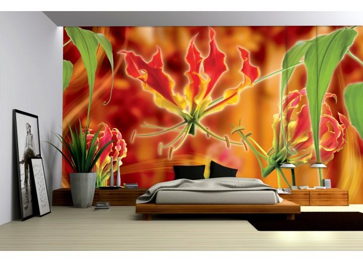 Fotobehang Bloemen | Oranje | 104x70,5cm