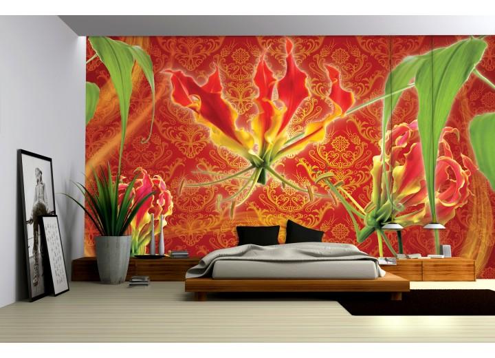 Fotobehang Papier Bloemen | Oranje, Rood | 254x184cm
