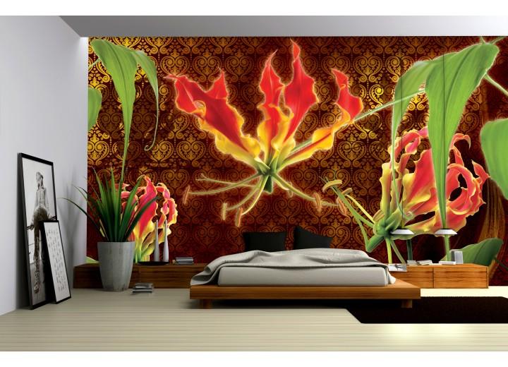 Fotobehang Bloemen | Bruin, Groen | 104x70,5cm