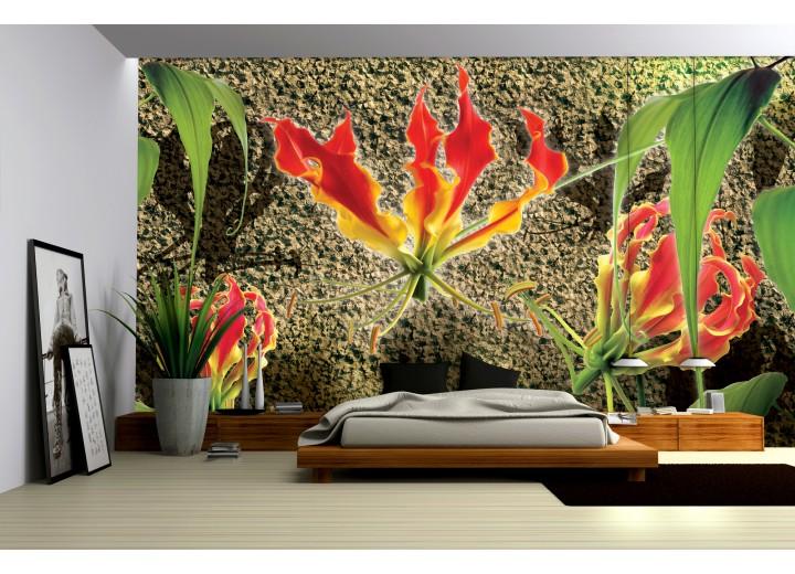 Fotobehang Papier Bloemen, Muur | Groen, Rood | 368x254cm
