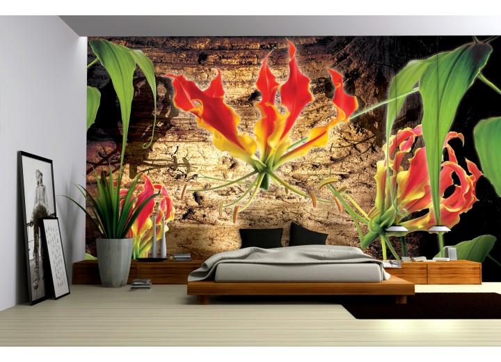Fotobehang Papier Bloemen, Hout | Bruin | 368x254cm