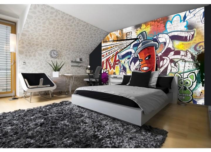 Fotobehang Graffiti | Groen, Geel | 416x254