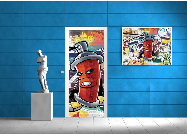Deursticker Muursticker Graffiti | Rood | 91x211cm