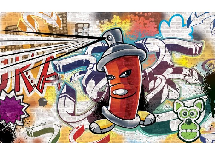 Fotobehang Vlies | Graffiti | Groen, Geel | 368x254cm (bxh)