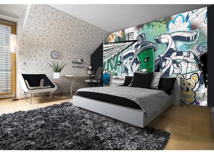 Fotobehang Graffiti | Groen, Grijs | 152,5x104cm